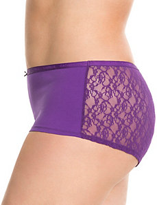 Lace back cotton boyshort panty