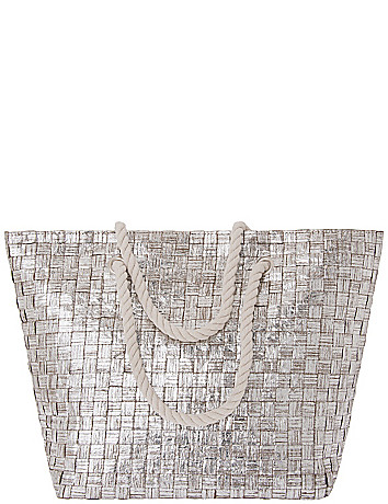 Metallic Basketweave Tote Bag by Lane Bryant