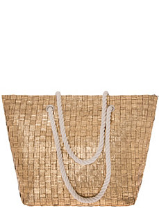 Metallic basket weave tote bag by Lane Bryant