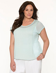 Lane Collection mixed fabric tee by LANE BRYANT