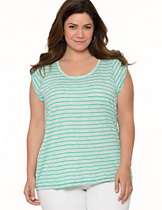 Tab sleeve striped tee by LANE BRYANT