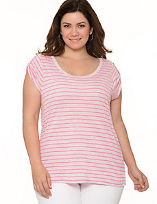 Tab sleeve striped tee
