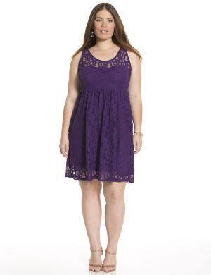 Sleeveless lace illusion dress