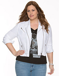 Linen moto jacket by LANE BRYANT