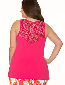 Lace back sleep tank