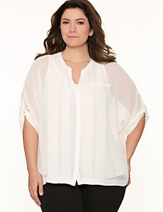 Boxy pintuck blouse by LANE BRYANT