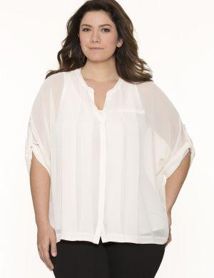 Boxy pintuck blouse