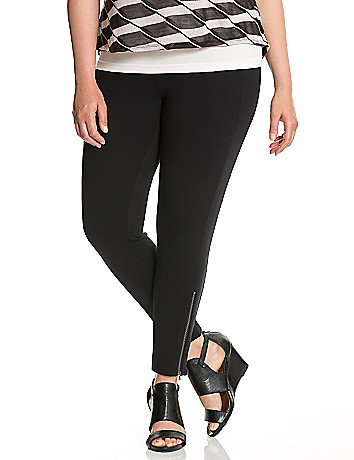 Zip Ankle Ponte Legging by Lane Bryant