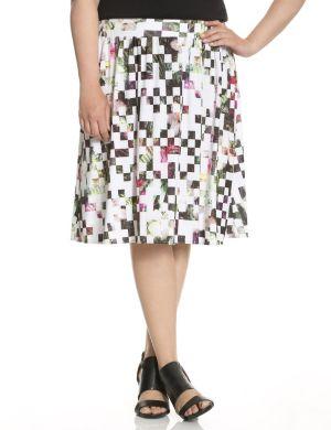 Square print knit skirt