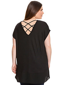 Chiffon hem tunic with cross back by LANE BRYANT