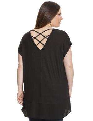 Chiffon hem tunic with cross back