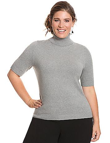 Keyhole back turtleneck sweater