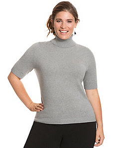Keyhole back turtleneck sweater