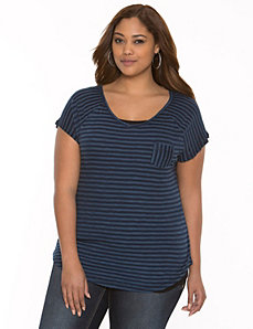 Striped double V-neck tee