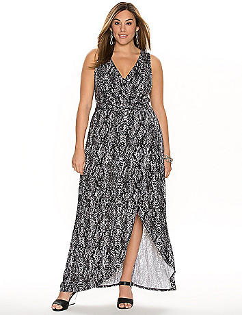 Printed tulip hem maxi dress