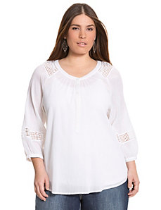 Gauze peasant shirt by LANE BRYANT