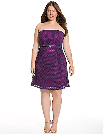 Geo lace tube dress