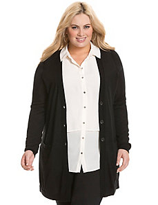 Merino long cardigan with faux leather shoulders