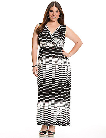 Striped keyhole maxi dress