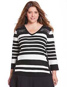 Striped lace V sweater