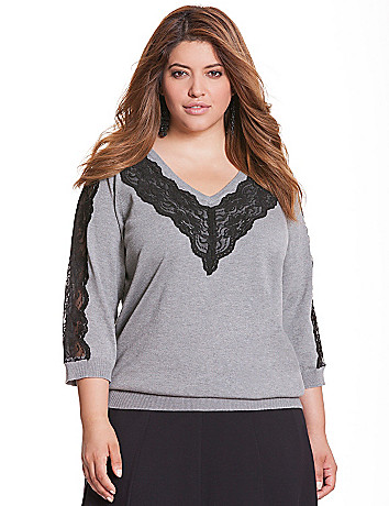 Lace V sweater