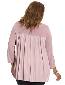 Pleated chiffon back sweater