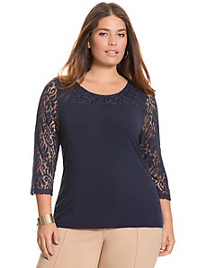 Lace sleeve tee by Lane Bryant