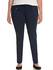 Zip pocket sateen skinny pant