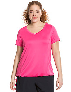 Wicking tie-bottom active tee