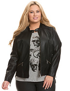 Moto jacket with cinching