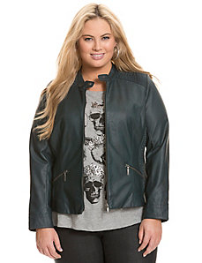 Moto jacket with cinching