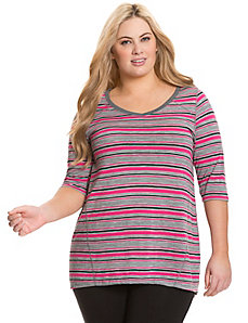 Striped V-neck tunic
