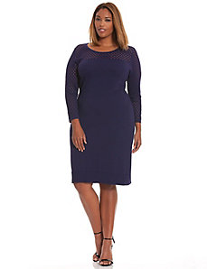 Perforated sleeve sweater dress