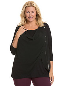 Chiffon overlay top with snaps