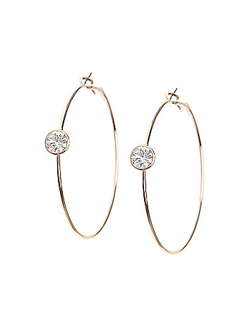 Stone accent hoop earrings by Lane Bryant