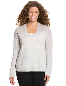 Metallic Merino V-neck sweater
