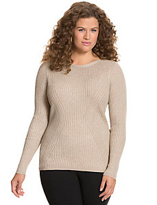 Metallic refined rib sweater