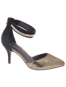 Metallic ankle strap heel