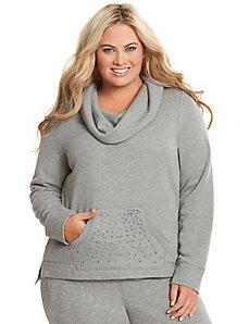 Embellished cowl sweatshirt
