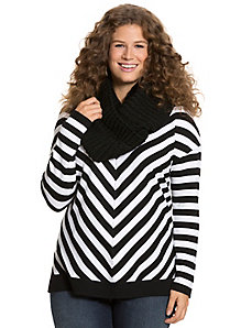 Mitered stripe V-neck pullover sweater
