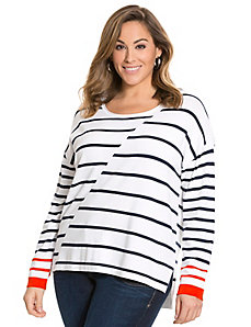 Asymmetric stripe zip back sweater