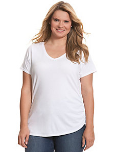 Shirred side V-neck tee