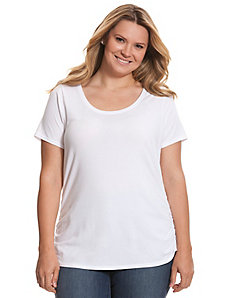 Shirred side scoop neck tee