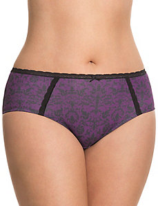 Sassy cotton hipster panty with lace trim