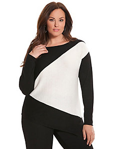 6th & Lane angled colorblock sweater