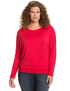 Long sleeve tee with ribbed trim
