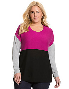 Colorblock side zip sweater