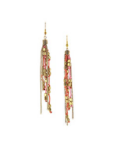 Cord & bead fringe earrings