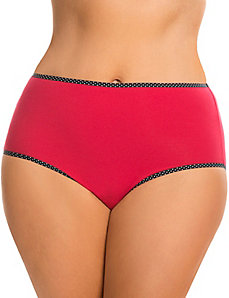 Sassy cotton high-leg panty with printed trim