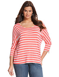 Striped zipper tee